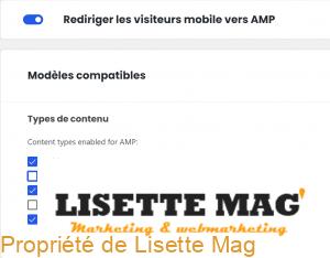 AMP : choisir le type de contenu concerné
