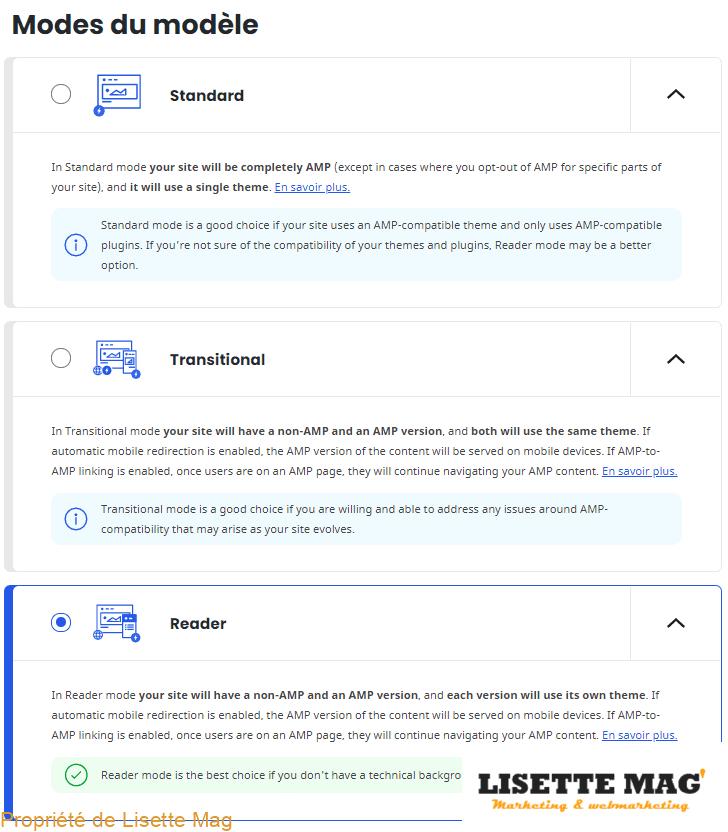 AMP for WordPress - 3e page de configuration Onbording