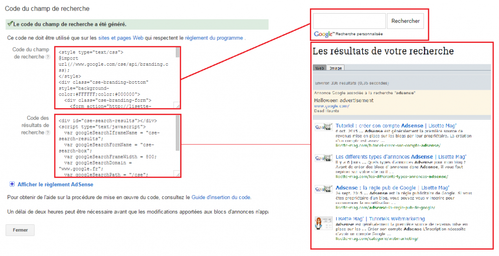 code et rendu du moteur de recherche Adsense