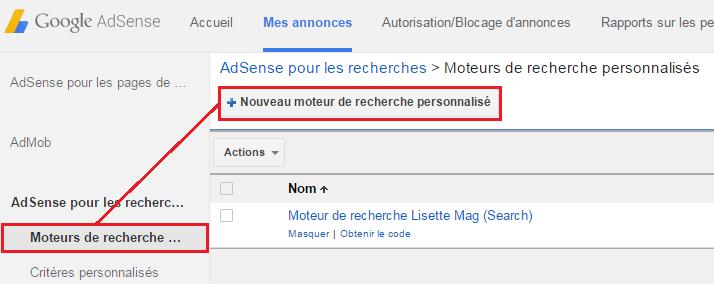 créer son moteur de recherche Adsense