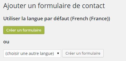 Contact7: choisir le langage utilisé