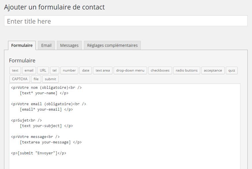 Contact7 : création du formulaire