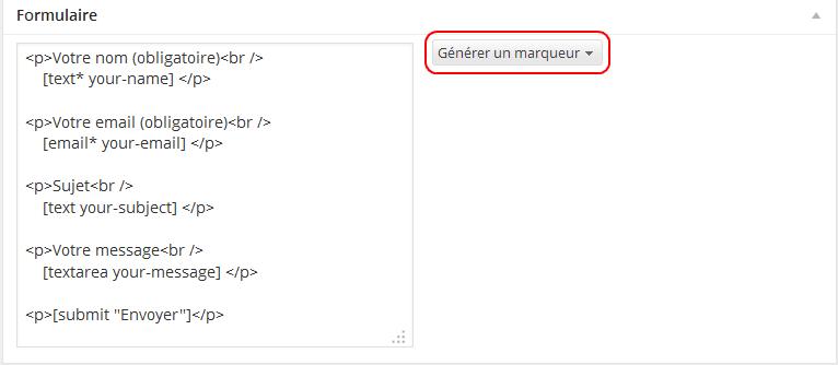 Contact Form 7 - résultat de la configuration du formulaire