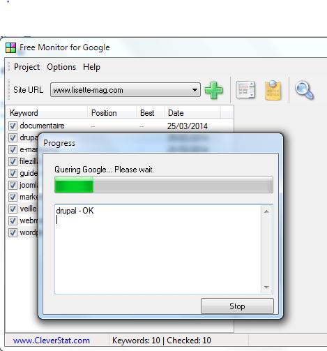 Free Monitor for Google pour contrôler son positionnement