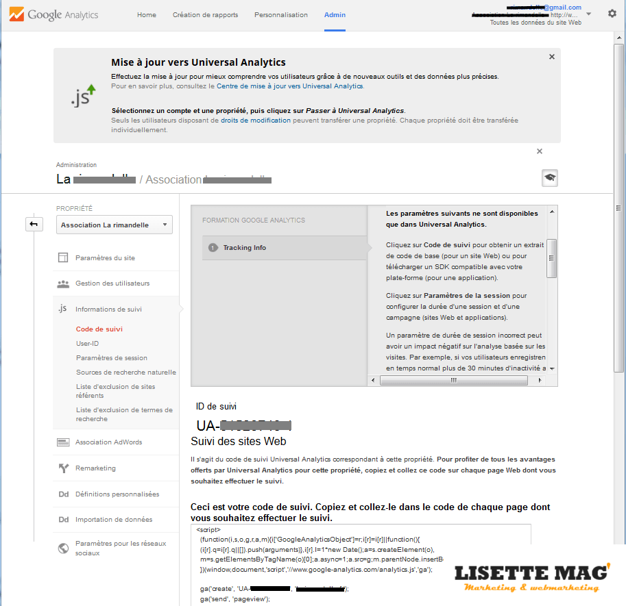 Google Analytics - Administration du compte