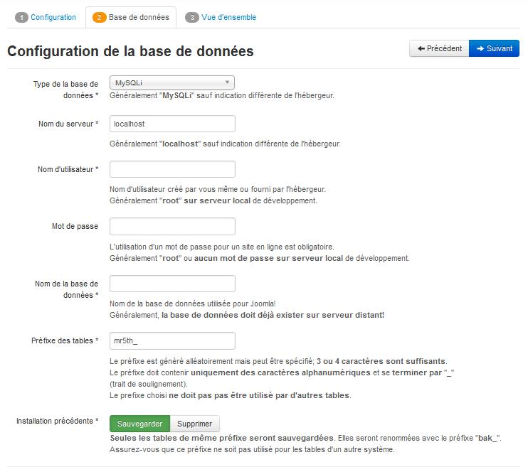 Installation Joomla - Base de données