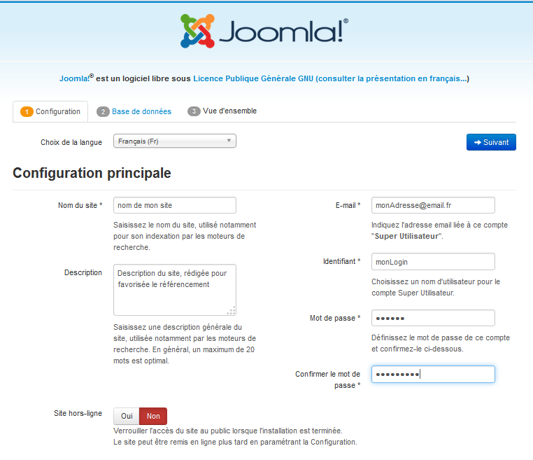installation Joomla - Configuration