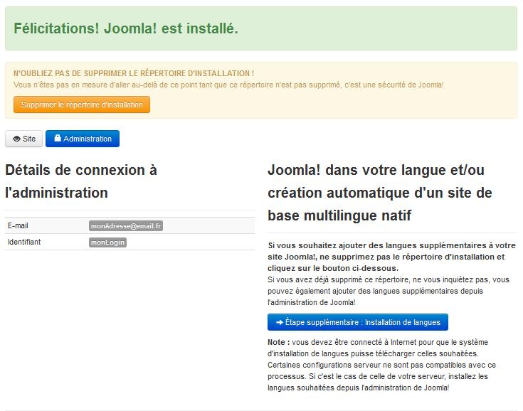 installation Joomla réussie