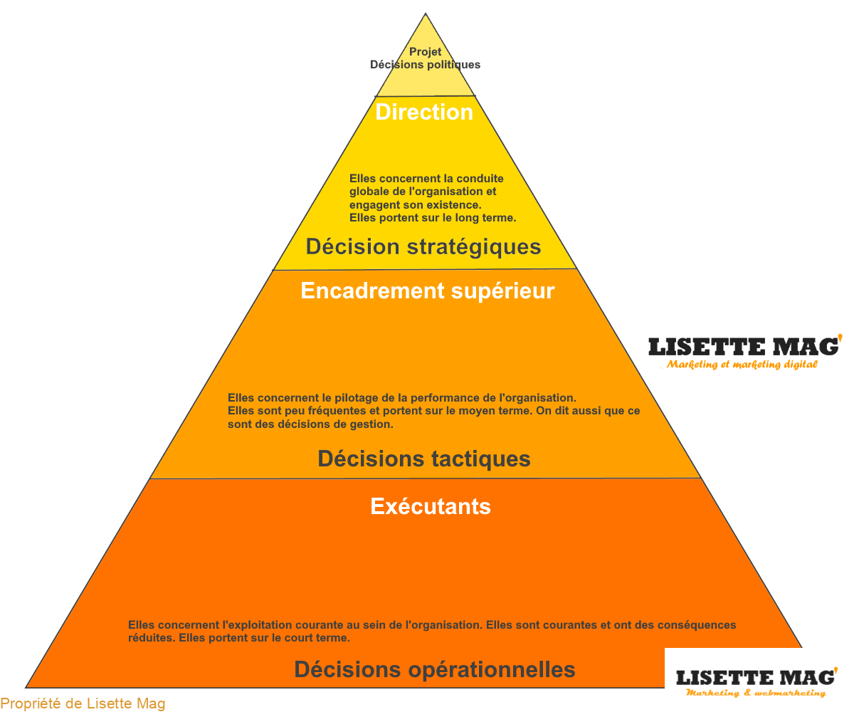 ressources de l'organisation : niveaux de décision