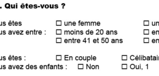 Identification de la personne interrogée dans le questionnaire