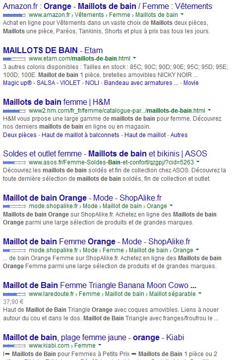 SEO liste des résultats de recherche de la première page