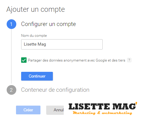 Tag manager - Insciption Nom du compte