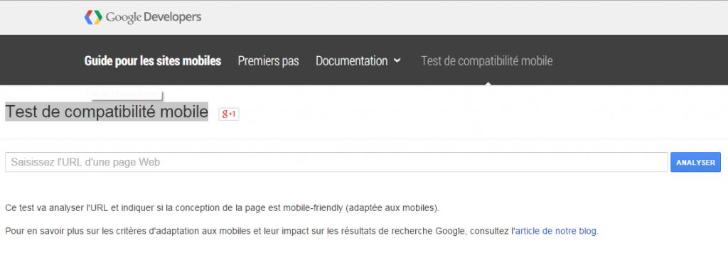 Google developers : test de compatibilité Mobile