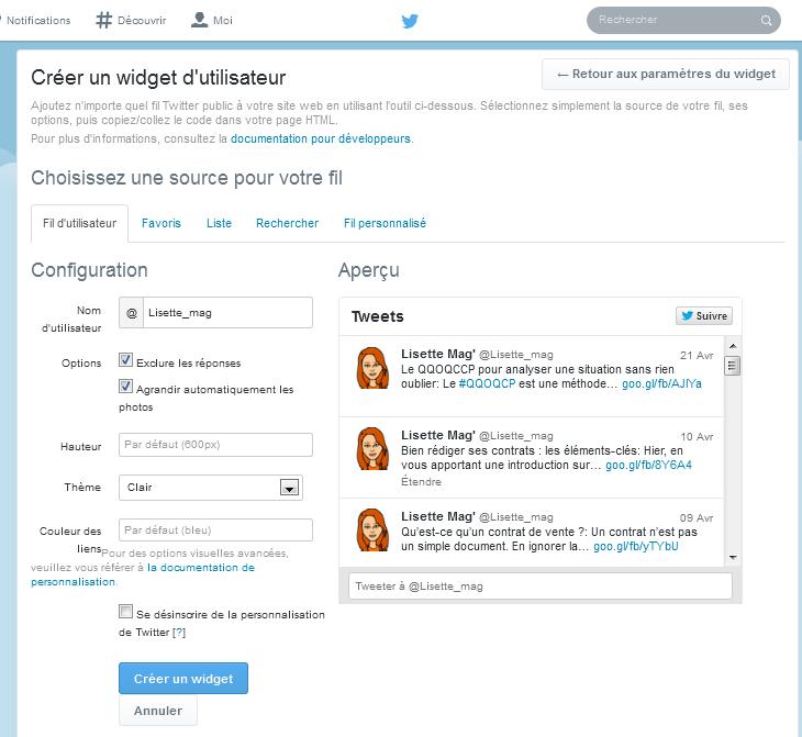 Twitter - configuration du widget