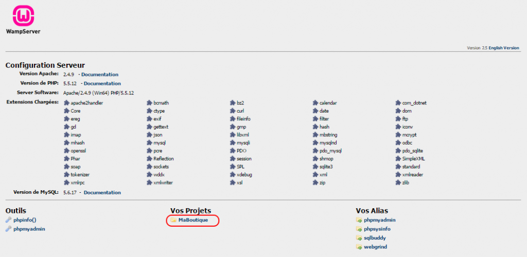 installer Prestashop - Wamp - écran Localhost - choix du projet