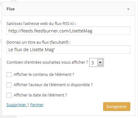 Paramétrer le widget Flux RSS de WordPress