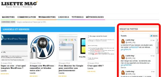 Wordpress - aperçu du rendu du widget Twitter