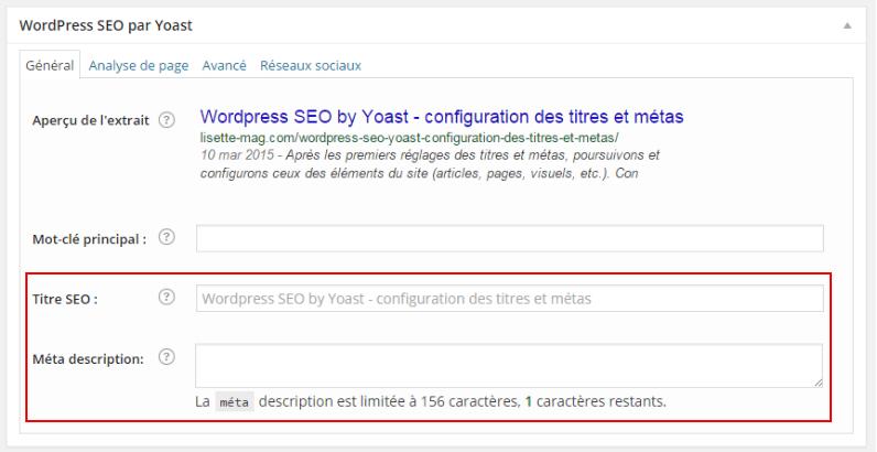 Wordpress SEO by Yoast : configurer les pages d'articles