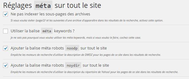 Wordpress SEO by Yoast : réglages généraux des métas