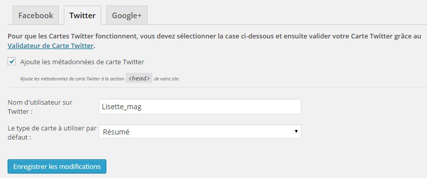 Wordpress SEO by Yoast : onglet Twitter
