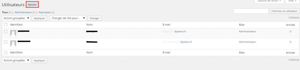 utilisateur WordPress : liste des utilisateurs