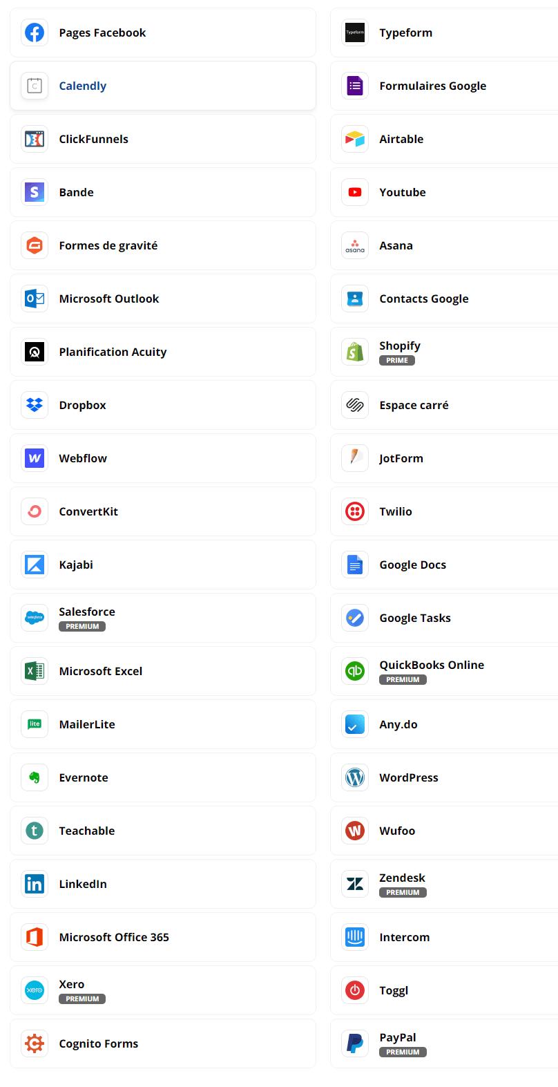Zapier, plus de 3000 applications disponibles