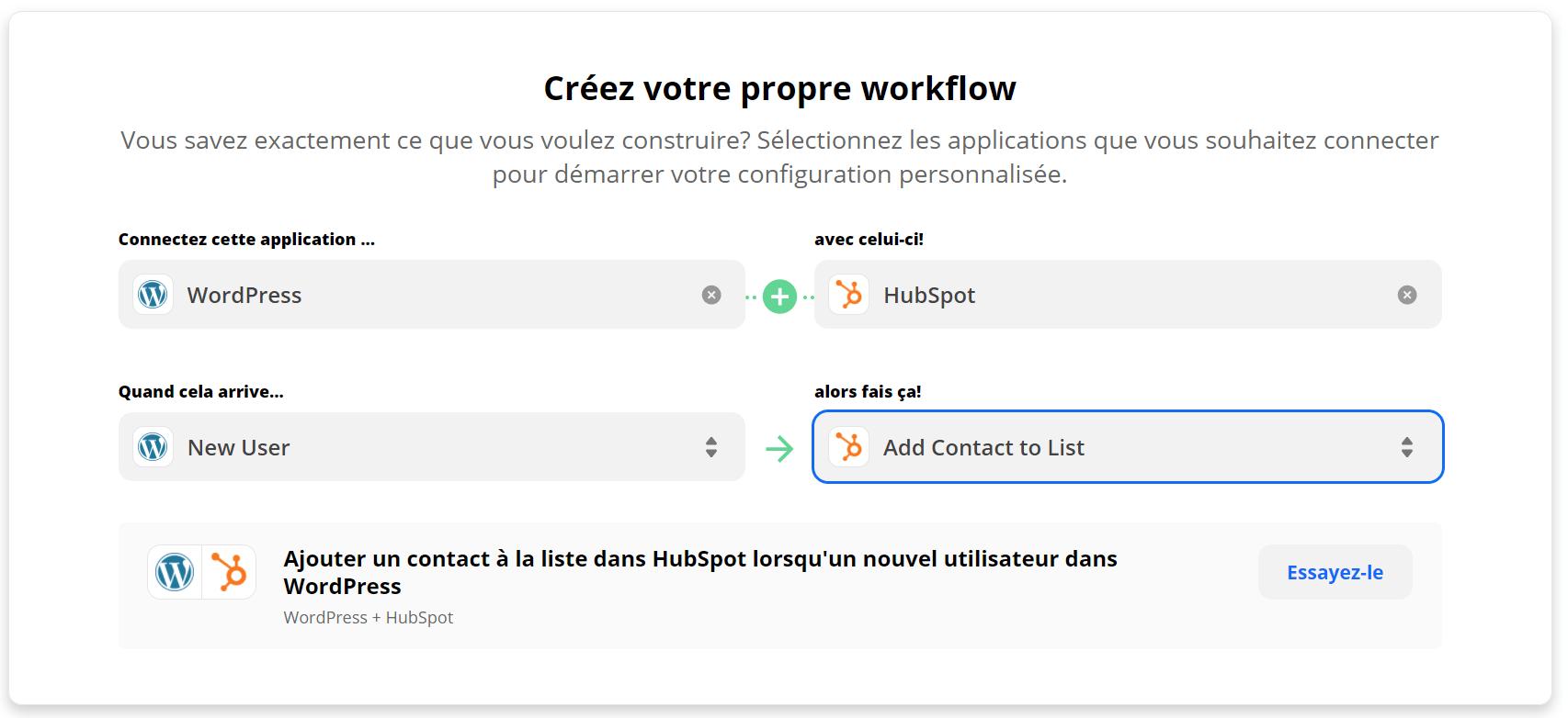 Exemple : créer un nouvel utilisateur dans Hubspot quand un internaute s'inscrit sur votre site WordPress