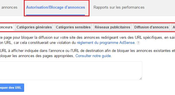 Adsense : autoriser / bloquer des annonces sur votre site