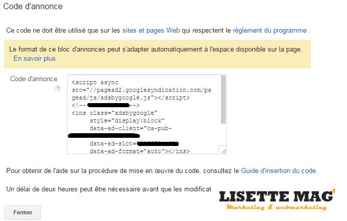 Adsense : code du bloc d'annonces
