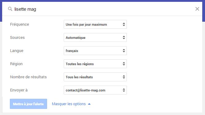 Outil de veille : Google Alerts