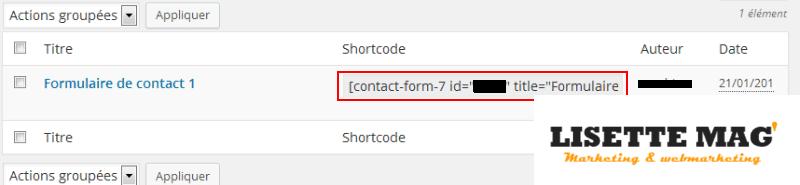 Contact Form 7 - Shortcode du formulaire de contact