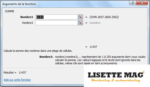 Excel -assistant de fonction