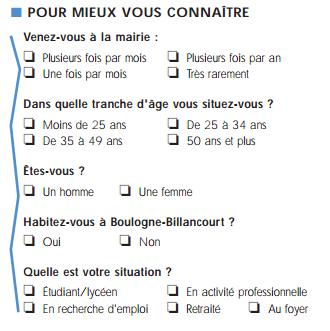 bloc d'identification de la personne interrogée - questionnaire mairie de Boulogne Billancourt