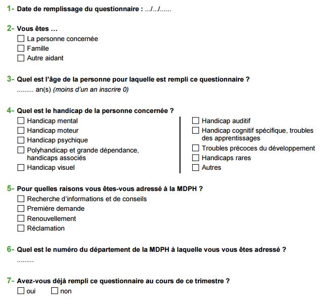 bloc d'identification de la personne interrogée - questionnaire MDPH