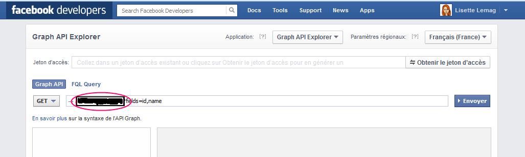 Facebook graph API explorer pour trouver son ID Facebook