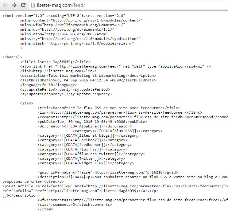 Flux RSS en mode XML