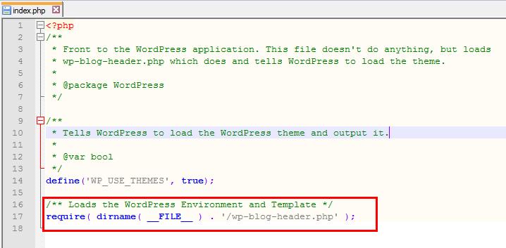 modifier l'adresse web d'un site WordPress - Fichier index.php redirection
