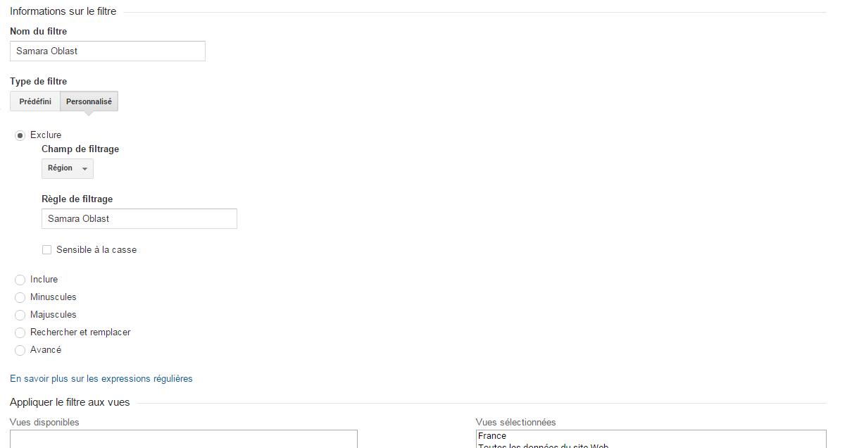 Filtre Google Analytics SAmara Oblast