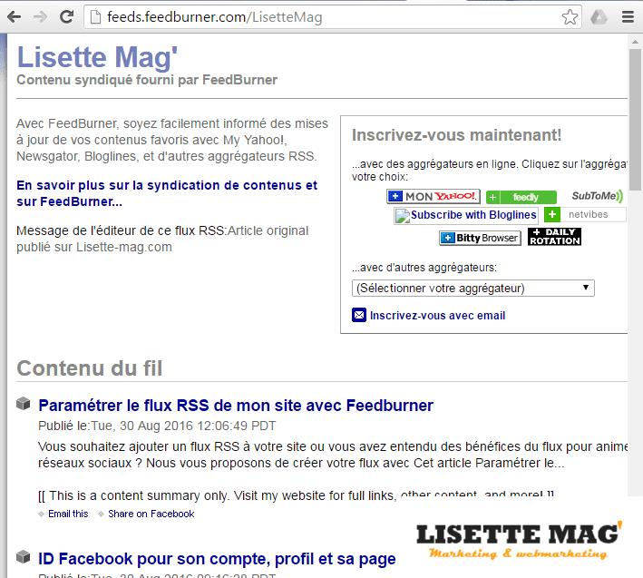 Le flux RSS du site Lisette Mag'