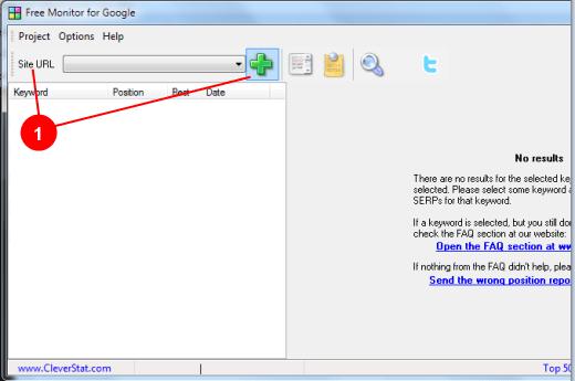 Free Monitor for Google par Cleverstat - ajout du site par menu Project/Add URL
