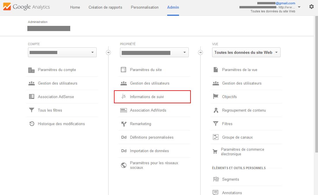 Google Analytics - récupérer le code de suivi