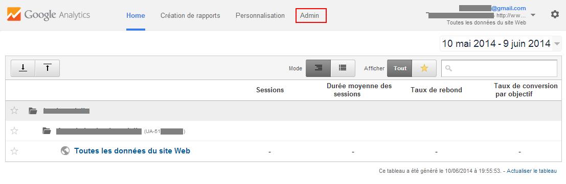 Google Analytics - Se rendre sur la page d'administration