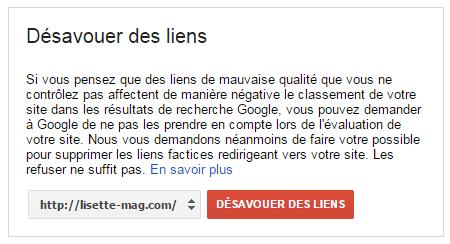 Google GWT - désavouer les sites référents indésirables