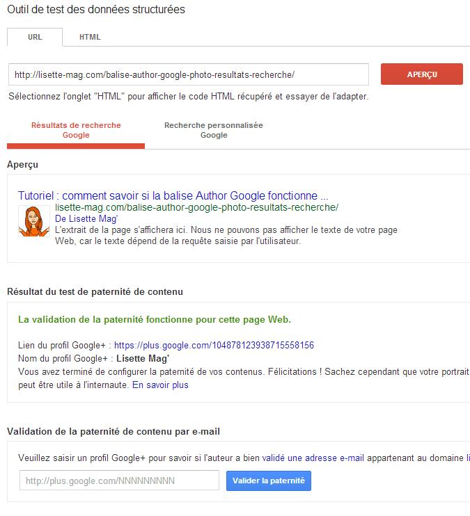 Google résultats de balisage Author