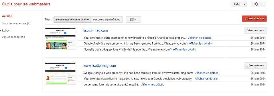 Google Webmaster tools - gestion du domaine principal