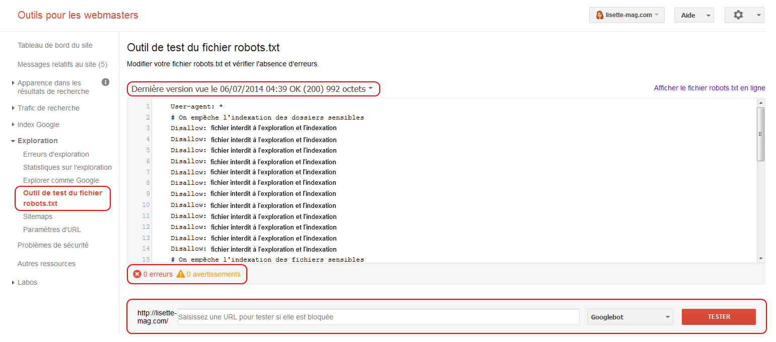 Google Webmaster Tools - tester son fichier robots.txt
