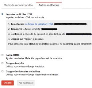 Google Webmaster Tools - validation du site