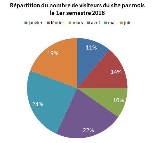 graphique secteurs Rapport du CA du Mixer B201 et de ses accessoires en milliers d'euros, par rapport au nombre de visiteurs du site Web et du nombre de commandes du 1er semestre 2018
