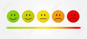 Types de questions : échelle de satisfaction figurée par des smileys