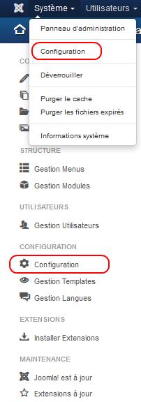 configurer Joomla - Se rendre dans la configuration du site